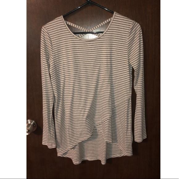 ccff70ab Xhilaration Shirts & Tops | Grey And White Long Sleeve Shirt | Poshmark